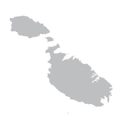 malta: grey map of Malta
