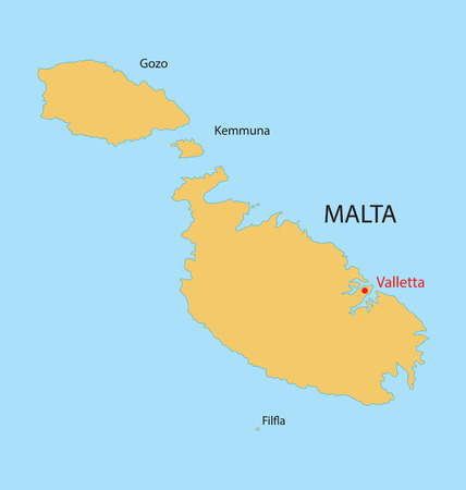 malta map: yellow map of Malta with indication of Valletta Illustration