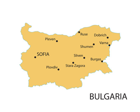 largest: yellow map of Bulgaria with indication of largest cities Illustration