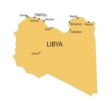 largest: yellow map of Libya with indication of largest cities
