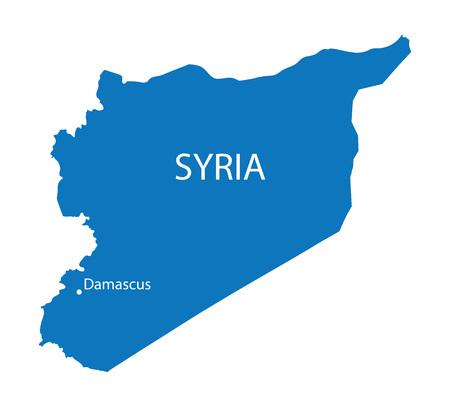 Syria: blue map of Syria