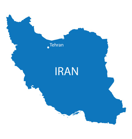 iran: blue map of Iran