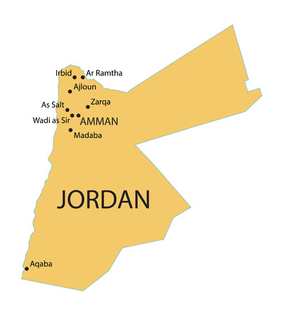 largest: yellow map of Jordan with indication of largest cities