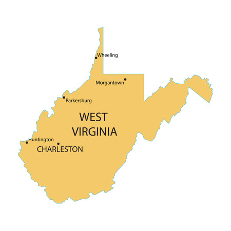largest: Yellow map of West Virginia with indication of largest cities