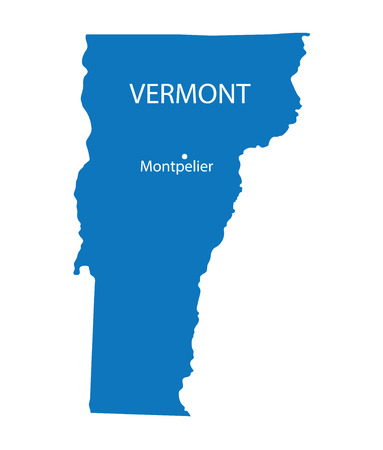 largest: Blue map of Vermont with indication of largest cities