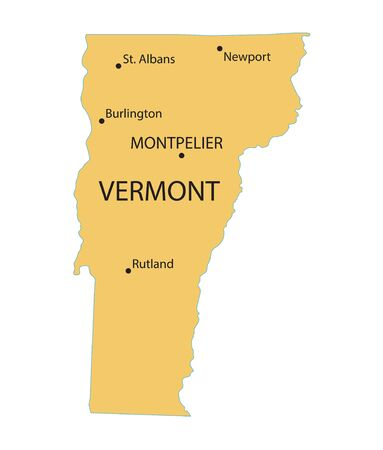 largest: Yellow map of Vermont with indication of largest cities