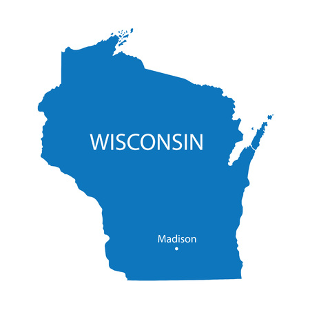 madison: Blue map of Wisconsin with indication of Madison