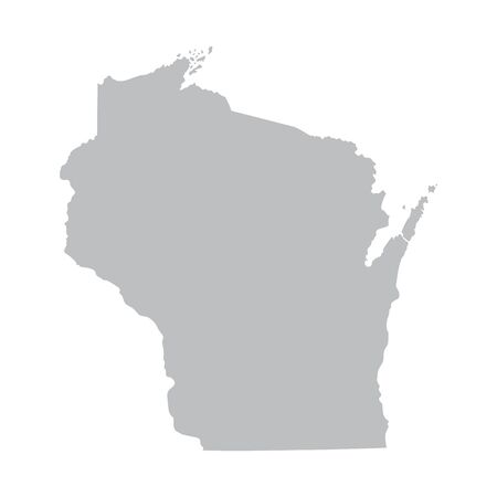 prefecture: Grey map of Wisconsin