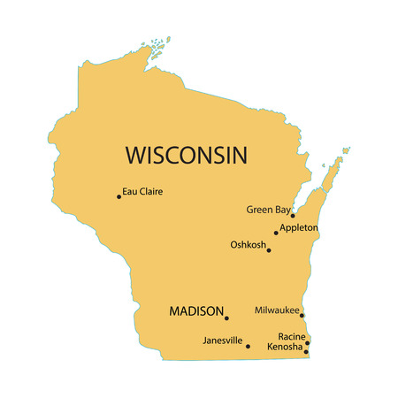 largest: Yellow map of Wisconsin with indication of largest cities