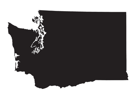 Black map of Washington 向量圖像