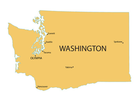 largest: Yellow map of Washington with indication of largest cities