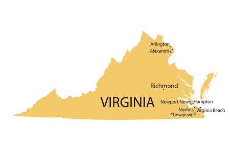 Yellow map of Virginia with indication of largest cities