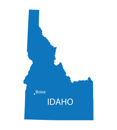territorial: Blue map of Idaho with indication of Boise