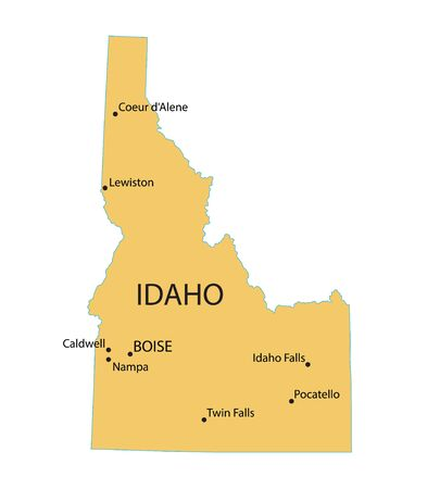 largest: Yellow map of Idaho with indication of largest cities