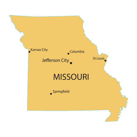 largest: Yellow map of Missouri with indication of largest cities Illustration