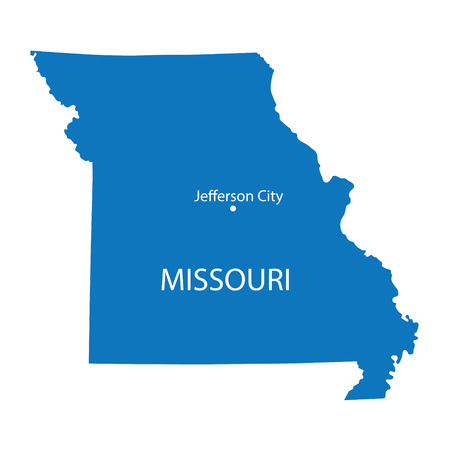 jefferson: Blue map of Missouri with indication of Jefferson City