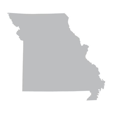 Grey map of Missouri Illustration