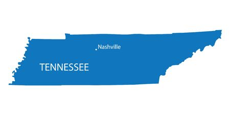 territorial: Blue map of Tennessee with indication of Nashville