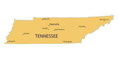 largest: Yellow map of Tennessee with indication of largest cities