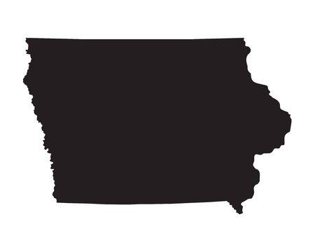 iowa: Black map of Iowa