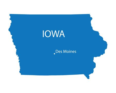 Blue map of Iowa with indication of Des Moines