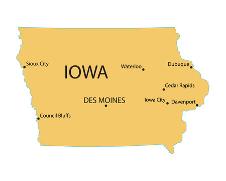 territorial: Yellow map of Iowa with indication of largest cities Illustration