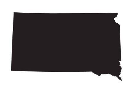 dakota: Black map of South Dakota Illustration