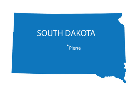 pierre: Blue map of South Dakota with indication of Pierre