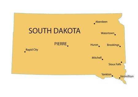 largest: Yellow map of South Dakota with indication of largest cities