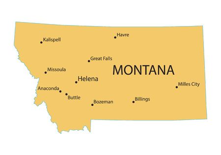 territorial: yellow map of Montana with indication of largest cities