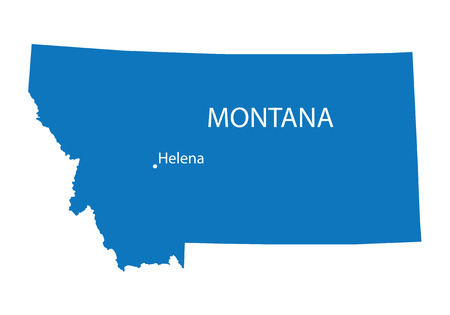 indication: blue map of Montana with indication of Helena