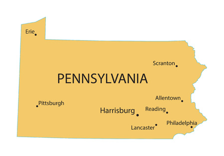 territorial: Yellow map of Pennsylvania with indication of largest cities