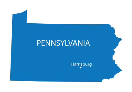 border patrol: Blue map of Pennsylvania with indication of Harrisburg Illustration