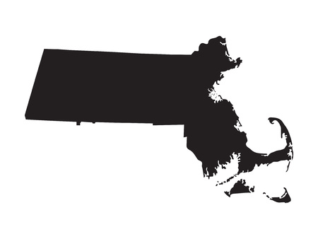 Black map of Massachusetts