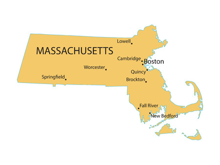 largest: yellow map of Massachusetts with indication of largest cities Illustration