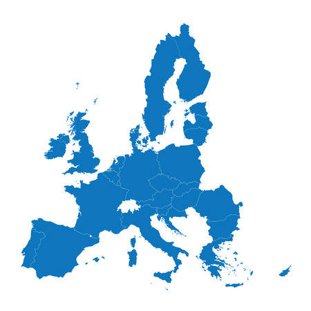 blue map of the European Union