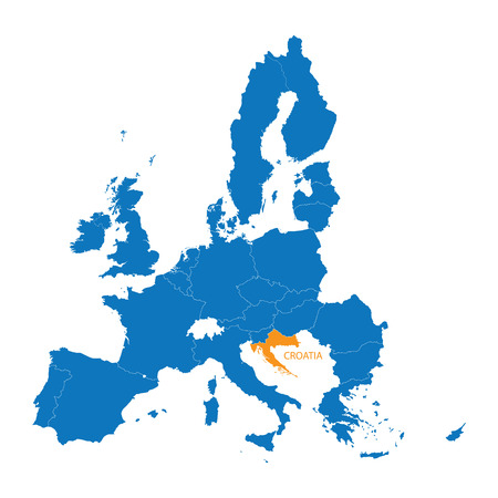 blue map of the European Union with indication of Croatia Illustration