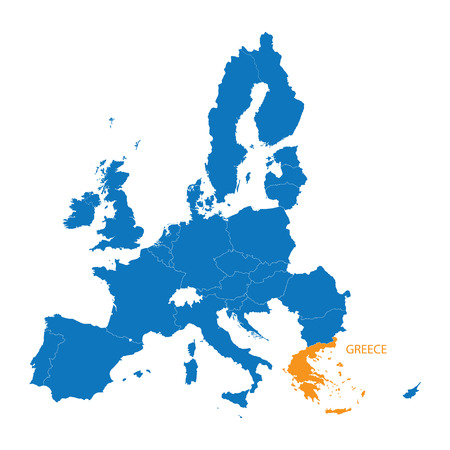 blue map of the European Union with indication of Greece