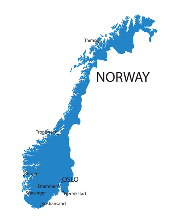 largest: blue map of Norway with indication of largest cities