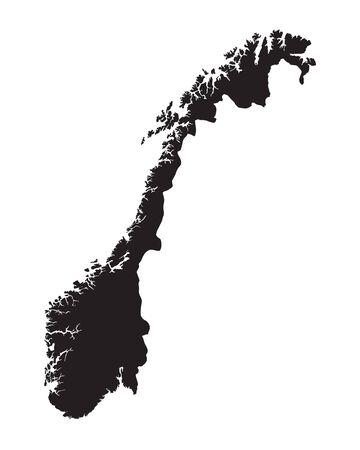 Carte en noir de la Norvège