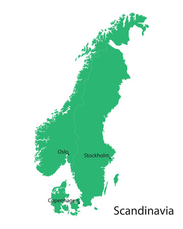 scandinavian: green map of the Scandinavian countries Illustration