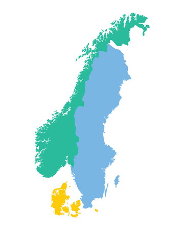 map of the Scandinavian countries Norway Sweden and Denmark Иллюстрация