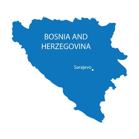 herzegovina: blue map of Bosnia and Herzegovina Illustration
