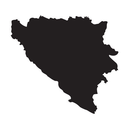 bosnia: Black map of Bosnia and Herzegovina