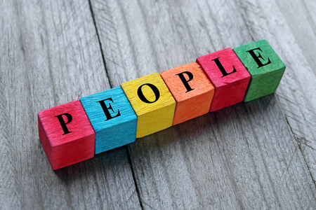 interpersonal: word people on colorful wooden cubes Stock Photo