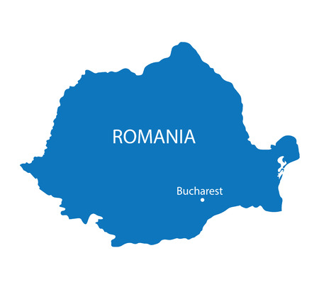 blue map of Romania with indication of Bucharest
