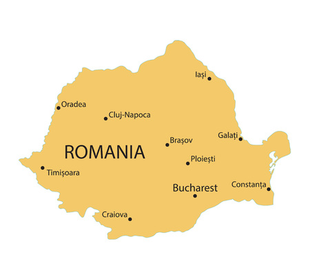 yellow map of Romania with indication of largest cities Illustration