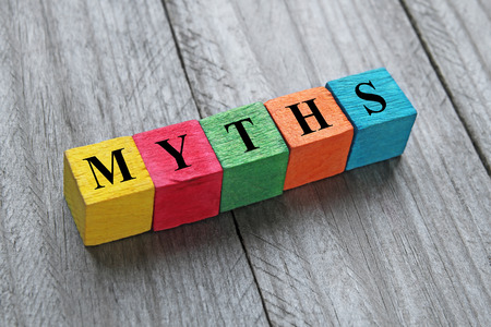 myths: myths word on colorful wooden cubes