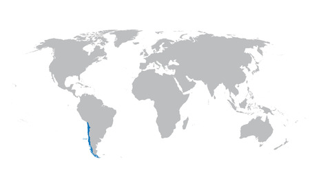 chile: world map with indication of Chile Illustration