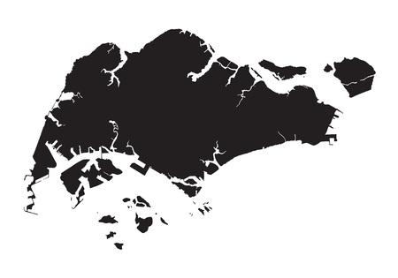 Black map of Singapore